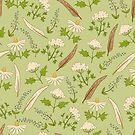 Green  botanical pattern. by Elsbet