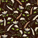Brown botanical pattern  by Elsbet
