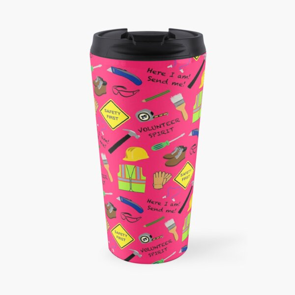 Pink safety first volunteer construction  Travel Mug