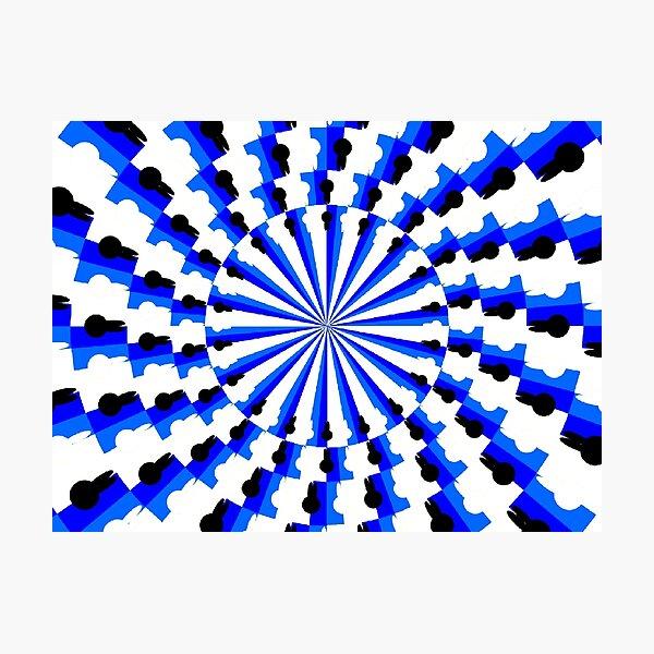 Illusion Pattern #blue #symmetry #circle #abstract #illustration #pattern #design #art #shape #bright #modern #horizontal #colorimage #royalblue #inarow #textured Photographic Print