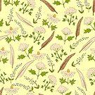 Yellow botanical pattern. by Elsbet