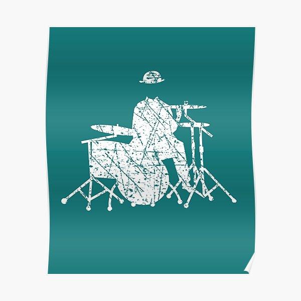 Jazz Drummer Grunge Style Poster