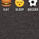 Eat Sleep Soccer Emoji Emoticon Funny Graphic Tee Shirt by DesIndie