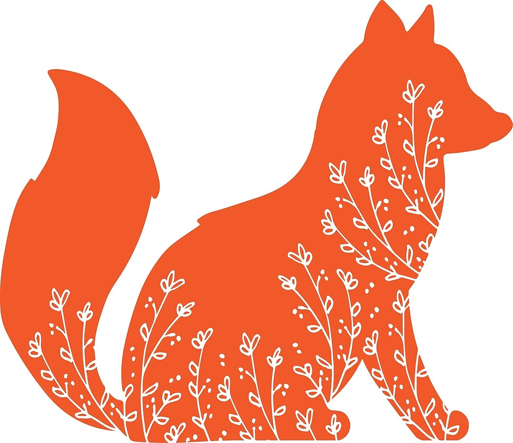Cute Floral Fox  by Kristina Sanders
