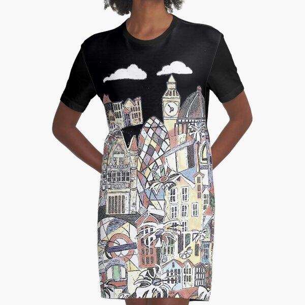London blooms cityscape Graphic T-Shirt Dress