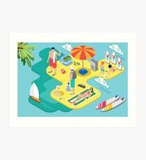 Isometric Beach Life - Summer Holidays Concept  Art Print