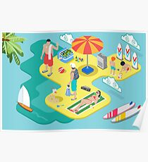 Isometric Beach Life - Summer Holidays Concept  Poster