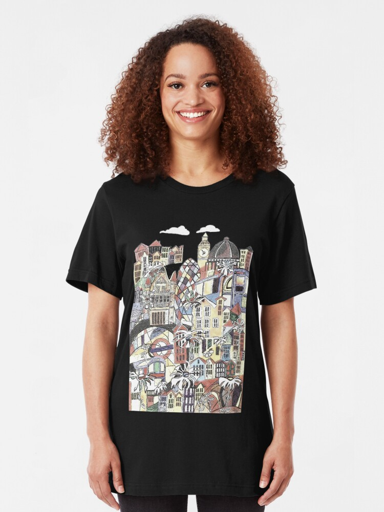 Alternate view of London blooms cityscape Slim Fit T-Shirt