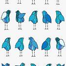 Gossip Birds Blue by Lisafrancesjudd