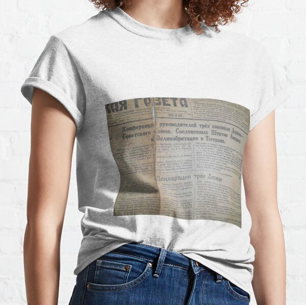 Old Historical Edition, Soviet Union Political Newspaper Classic T-Shirt