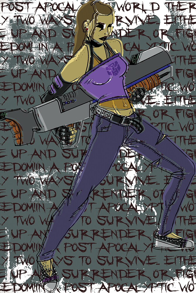 Post Apocalyptic Rocker Chick with Big Gun! by Angelo Gines Jr.