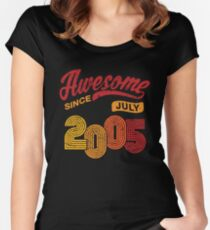 Awesome Since July 2005 Shirt Vintage 13th Birthday Women's Fitted Scoop T-Shirt