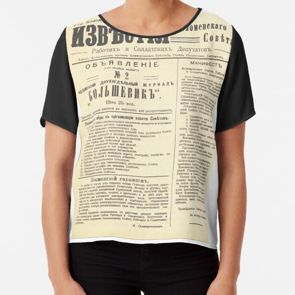 Political Poster, Old Russian Political Newspaper Chiffon Top