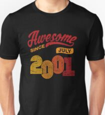 Awesome Since July 2001 Shirt Vintage 17th Birthday Unisex T-Shirt