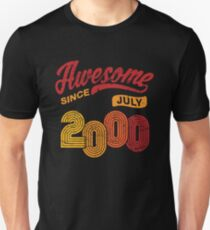 Awesome Since July 2000 Shirt Vintage 18th Birthday Unisex T-Shirt
