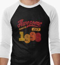 Awesome Since July 1998 Shirt Vintage 20th Birthday Men's Baseball ¾ T-Shirt