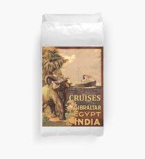 Cruises to Gibraltar, Egypt and India, tourist ship, Elephant Duvet Cover