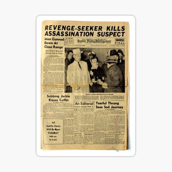 Old Newspaper: Lee Harvey Oswald Shot Sticker