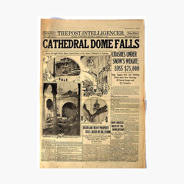 Old #Newspaper: CATHEDRAL DOME FALLS #OldNewspaper #snow #weight Photographic Print