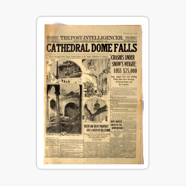 Old #Newspaper: CATHEDRAL DOME FALLS #OldNewspaper #snow #weight Sticker