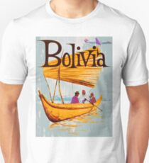 Bolivia, fisherman boat on water, vintage travel poster Unisex T-Shirt