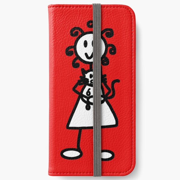 The Girl with the Curly Hair Holding Cat - Red iPhone Wallet