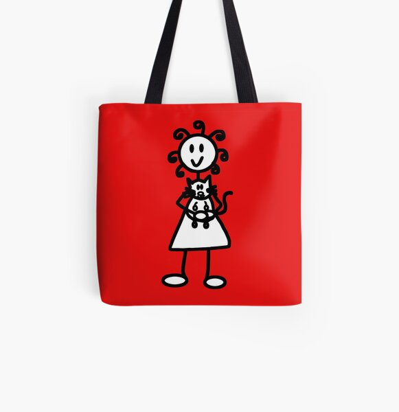The Girl with the Curly Hair Holding Cat - Red All Over Print Tote Bag