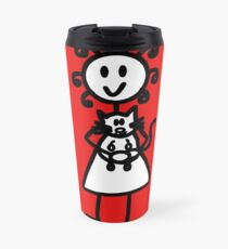 The Girl with the Curly Hair Holding Cat - Red Travel Mug