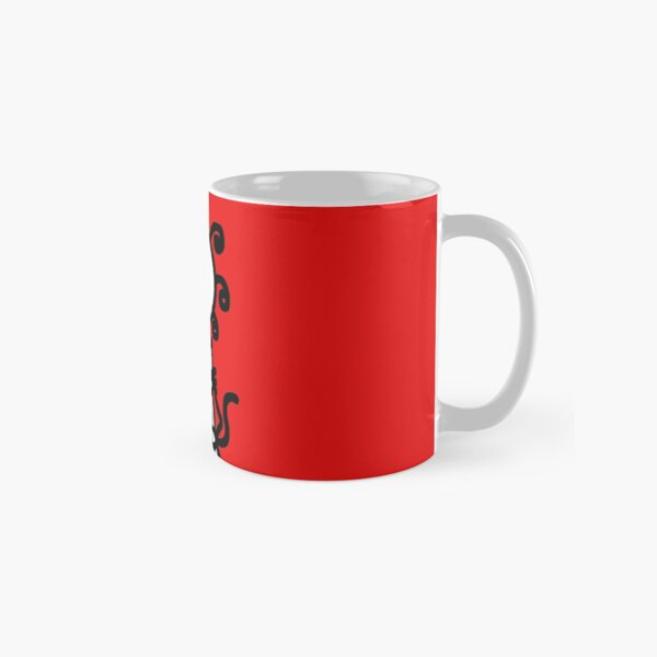 The Girl with the Curly Hair Holding Cat - Red Classic Mug