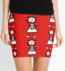 The Girl with the Curly Hair Holding Cat - Red Mini Skirt