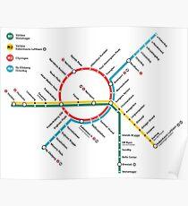 Kopenhagen-Metro-Karte - Dänemark Poster