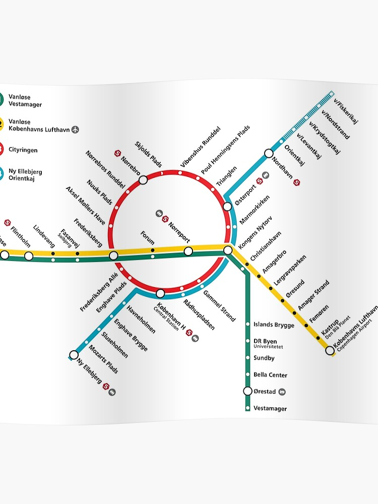 Subway Map Of Copenhagen.Copenhagen Metro Map Denmark Poster