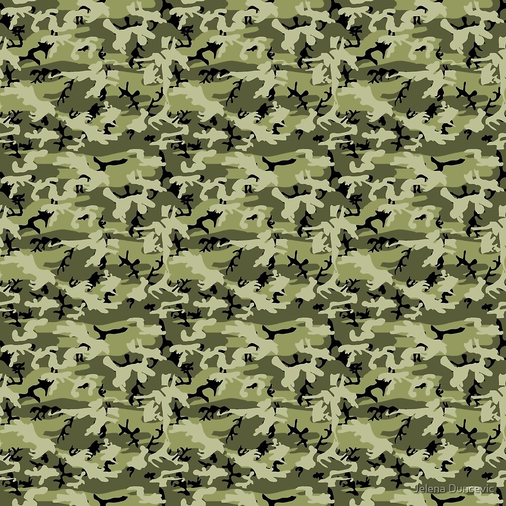 Military Camouflage Pattern - Green White Black  by sitnica