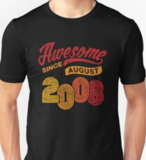 Awesome Since August 2008 Shirt Vintage 10th Birthday Unisex T-Shirt