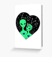 Extraterrestrial love. Background for Valentine's day. Greeting Card
