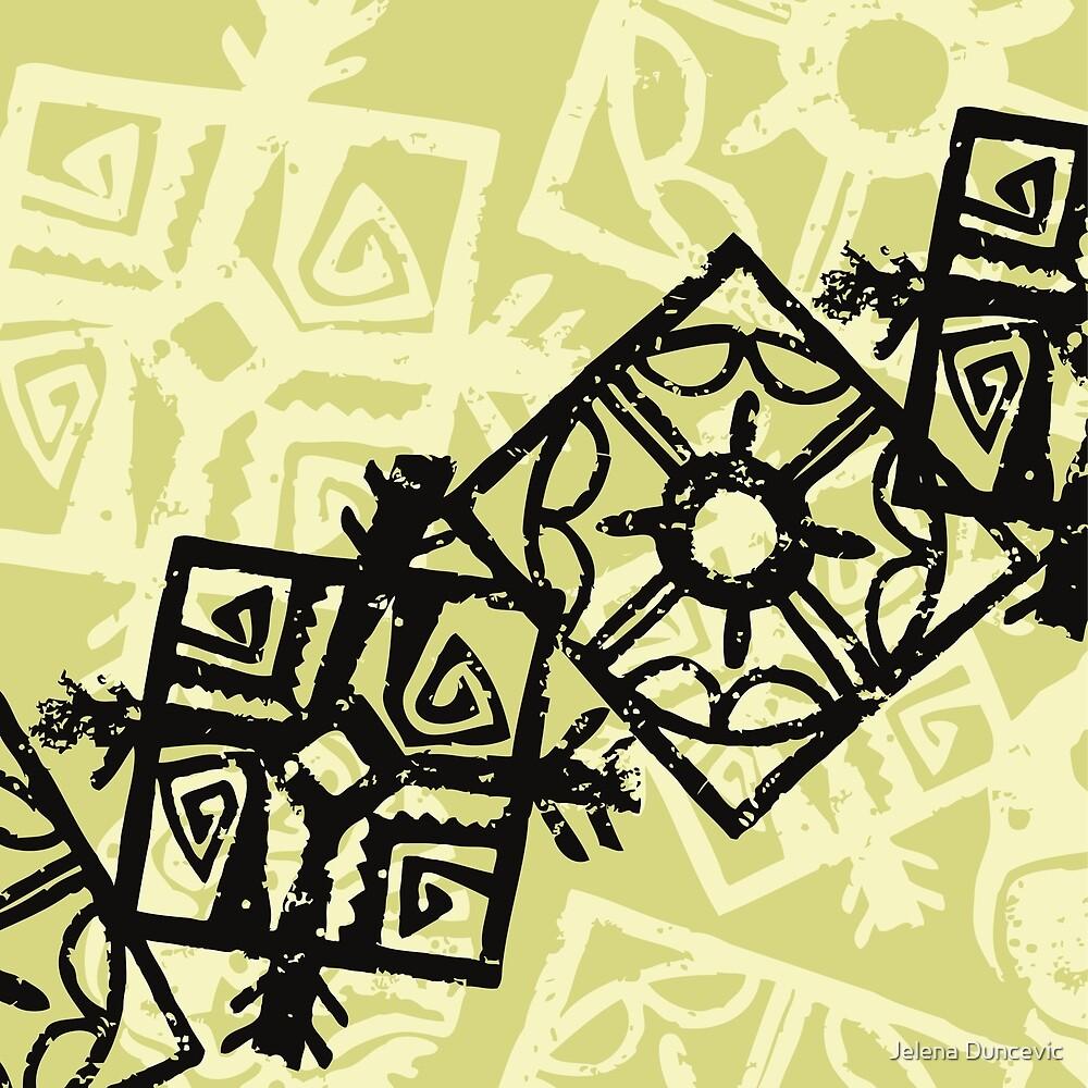 African Pattern, Tribal Motif - Green Black  by sitnica