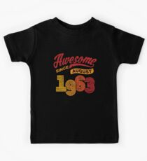 Awesome Since August 1963 Shirt Vintage 55th Birthday Kids Tee