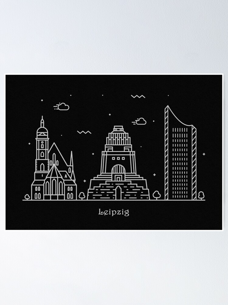 Leipzig Skyline Minimal Line Art Poster Poster By Geekmywall Redbubble