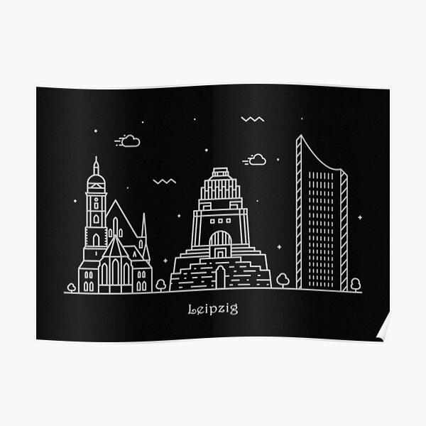 Leipzig Skyline Minimal Line Art Poster Poster
