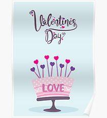 happy valentines day celebration cake Poster
