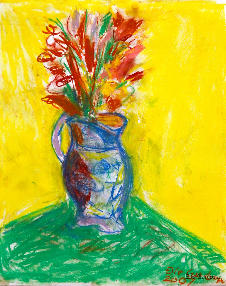 Flowers in a Vase - Pastel on Paper - 8 x 10 inches - FOR SALE - $ 100 by Elle Gamboa