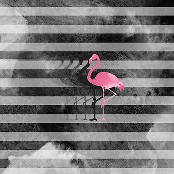 flamingo on grey watercolour stripes by jazzydevil