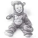 boy in monkey suit drawing by Mike Theuer