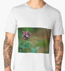 Deep red and white rose flowers background. Men's Premium T-Shirt