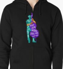 Bass Player With Jazz Genres Zipped Hoodie