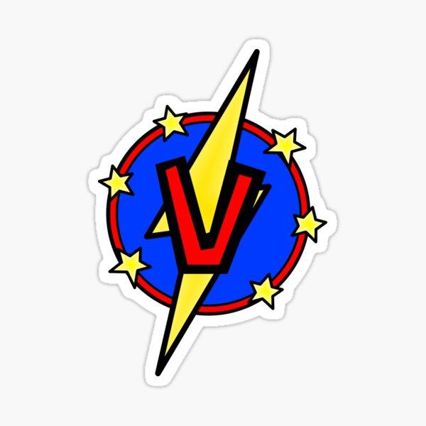 Cute Little SuperHero Geek - Super Letter V Sticker
