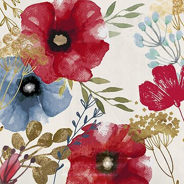 Posy Watercolor Poppies I by mindydidit