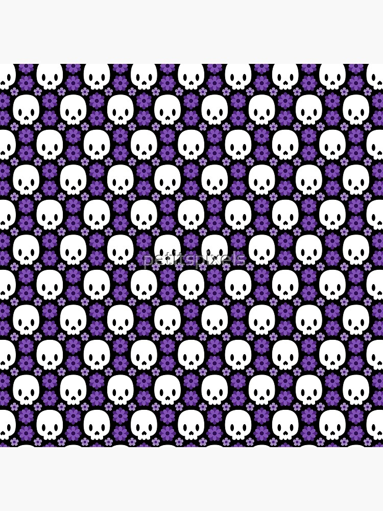 Skulls and purple flowers by petitspixels