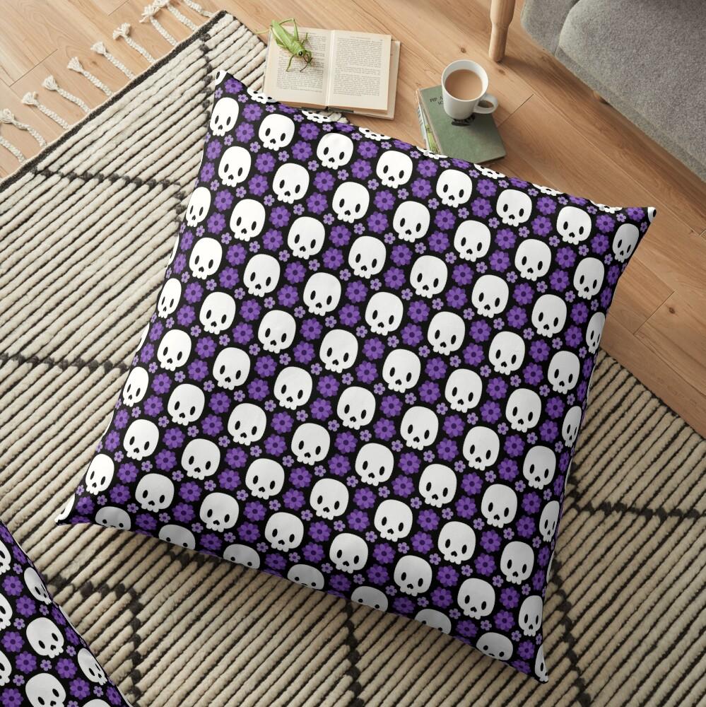 Skulls and purple flowers Floor Pillow