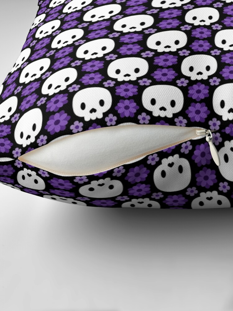 Alternate view of Skulls and purple flowers Floor Pillow